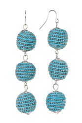 3 BALL DROP EARRINGS TURQUOISE BLUE