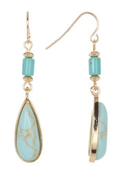 Teardrop Turquoise Stone Drop Earrings