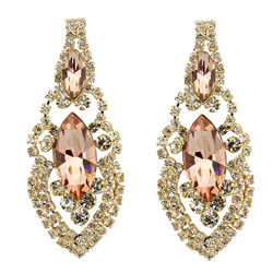 Cubic Zirconia Earrings Edwardian Style Peach