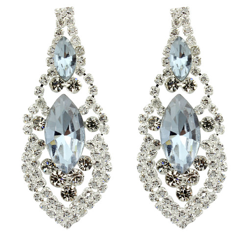 Cubic Zirconia Earrings Edwardian Style Silver