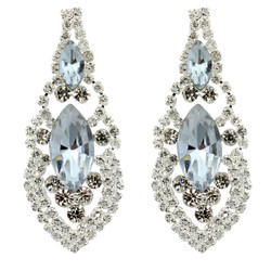 Cubic Zirconia Earrings Edwardian Style Silver