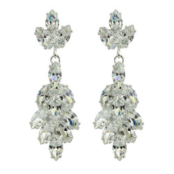 Marquise Cut Cubic Zirconia Floral Earrings Silver