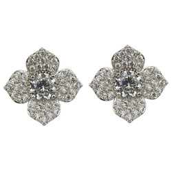 Cubic Zirconia Flower Petal Stud Earrings Silver