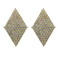 Diamond Shaped Cubic Zirconia Stud Earrings Invisible Setting Gold