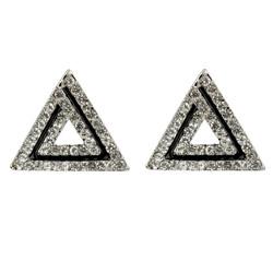Art Deco Triangle Shaped Stud Earrings Cubic Zirconia Silver