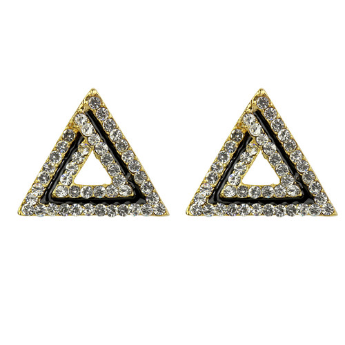 shaped triangle zirconia earrings cubic gold art stud deco
