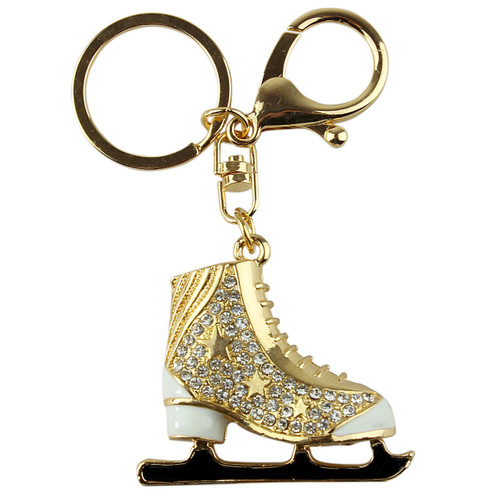 Ice Figure Skate Boot Key Chain Purse Charm White