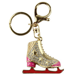 Ice Figure Skate Boot Key Chain Purse Charm Fuchsia