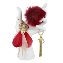Red Pom Pom Feather Tassel Keychain Set of 3