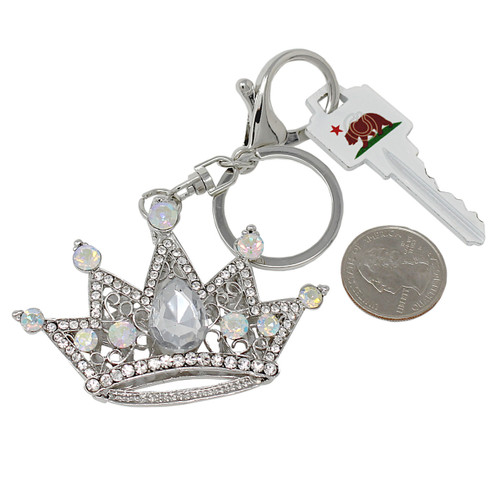 Crown Keychain Bag Charm Silver