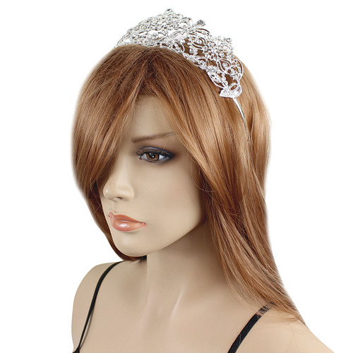 Large Crown Tiara Bridal Wedding Crystals Silver