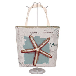 Jacquard Canvas Large Tote Bag Starfish