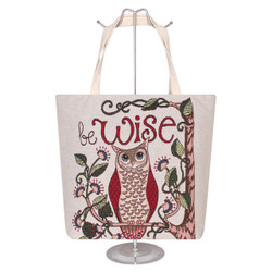 Owl Jacquard Canvas Large Tote Bag Be Wise