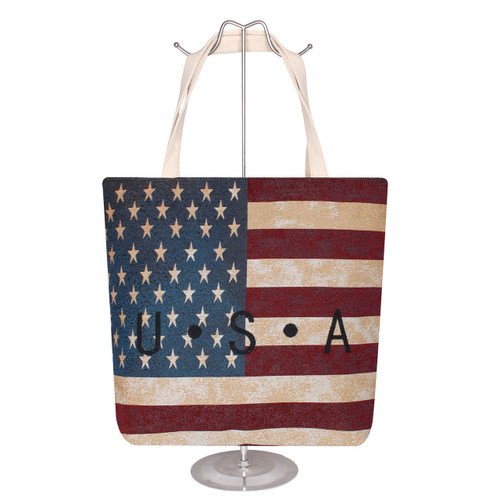 Jacquard Canvas Large Tote Bag Old Glory USA