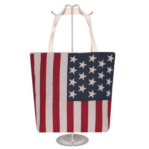 Jacquard Canvas Large Tote Bag American Flag