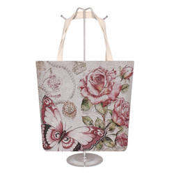 Jacquard Canvas Large Tote Bag Rose Butterfly