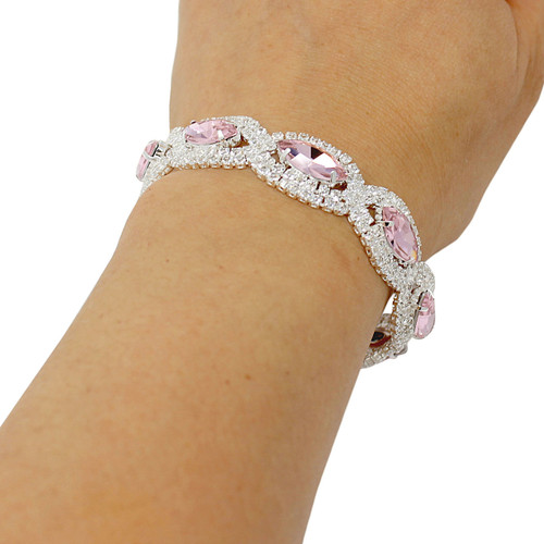 Cubic Zirconia Two Tone Bracelet Pink