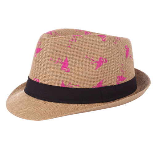 Flamingo Fedora Hat Paper Straw Khaki