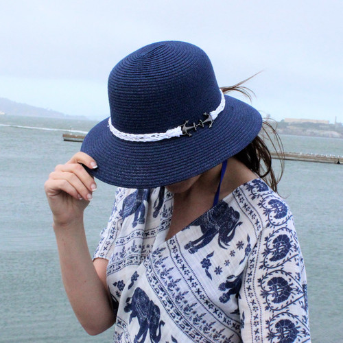 Anchor Charm Straw Hat Bucket Navy