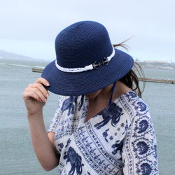 Anchor Charm Straw Hat Bucket Navy
