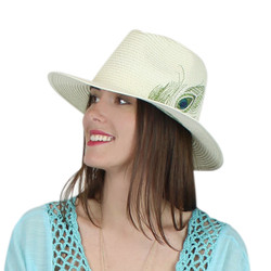 Peacock Virginie Straw Hat Embroidered Feather Ivory