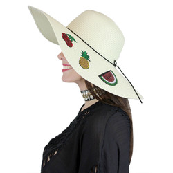 Fruit Patches Floppy Hat Sequined Wide Brim Ivory