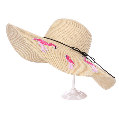 Flamingo Floppy Hat Embroidered Patches Beige