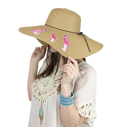 Flamingo Floppy Hat Embroidered Patches Khaki