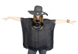 Pineapple Patches Floppy Hat Sequined Wide Brim Black