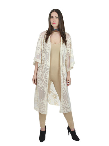 Elegant Embroidered Lace Kimono Open Front Short Sleeves