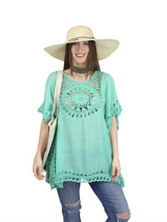 Boho Crochet Tunic Short Sleeves Mint