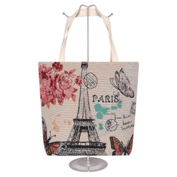 Jacquard Style Large Canvas Tote Bag Paris