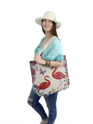 Jacquard Style Large Canvas Tote Bag Flamingo