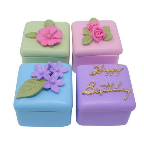 Petit Fours Birthday Cake & Roses Jewelry Box