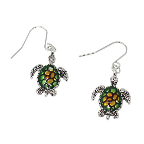 Green Sea Turtle Earrings with Fish Hook