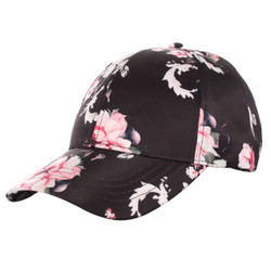 Floral Print Baseball Hat Satin Black