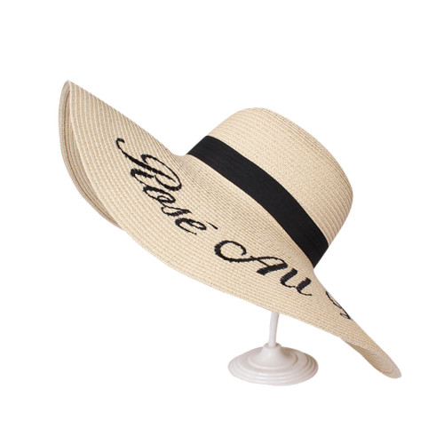Rosé All Day Embroidered Floppy Hat Beige