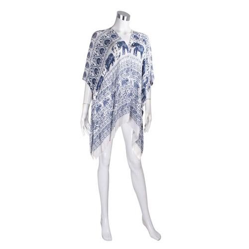 Tribal Elephant Kimono Wrap Cardigan Denim Blue