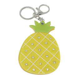 Rhinestone Pineapple Compact Mirror Key Chain Charm