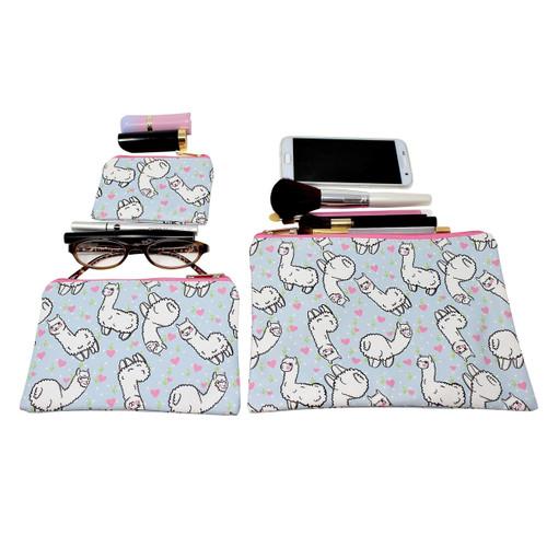 Llama Cosmetic Bags 3 piece Set