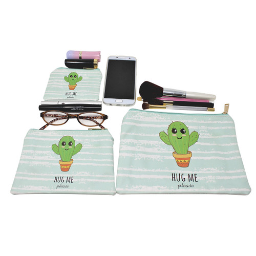 Hug Me Please Cactus Cosmetic Bags 3 piece Set