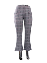 Grey Checkered Print Flare Pants One Size