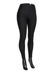 Compression Faux Jeggings with Dotted Lines Black