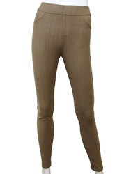 Compression Faux Jeggings with Dotted Lines Khaki