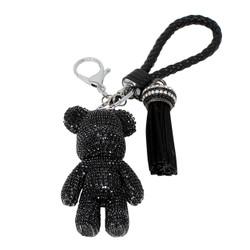 Teddy Bear and Tassel Purse Charm Braided Strap Black