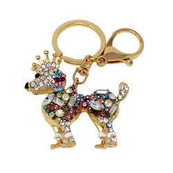 Sparkly Poodle with Crown Keychain Bag Charm