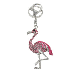 Sparkly Flamingo Keychain Bag Charm Rose Silver