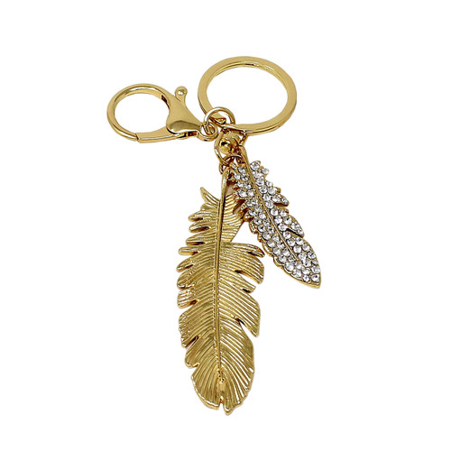 Rhinestone Feather Keychain Bag Charm Gold