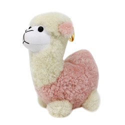 "Cute Plush Llama Keychain Purse Charm 5""H Light Pink"