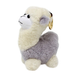 "Cute Plush Llama Keychain Purse Charm 5""H Grey"